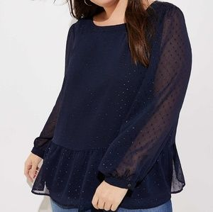 LOFT Tops - Navy Blue Peplum Blouse (Size 26)